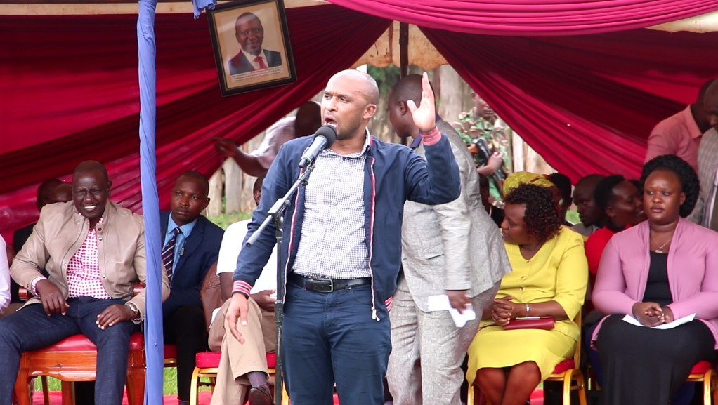 Zaheer Jhnada making his remarks at Kisii School in a Fundraiser presided by Deputy President William Ruto Photo/Rogers Gichana