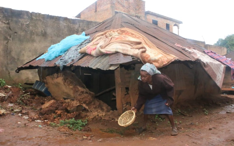 Pacifica Matara at the scene of her collapsed house Tuesday morning in Nyamataro Kisii Town Photo/Rogers Gichana