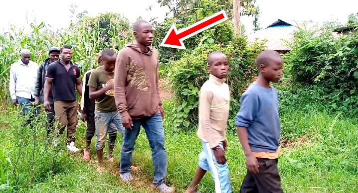 Facing the arrow is the 17 year Old John Abeka who underwent initiation Photo/Rogers
