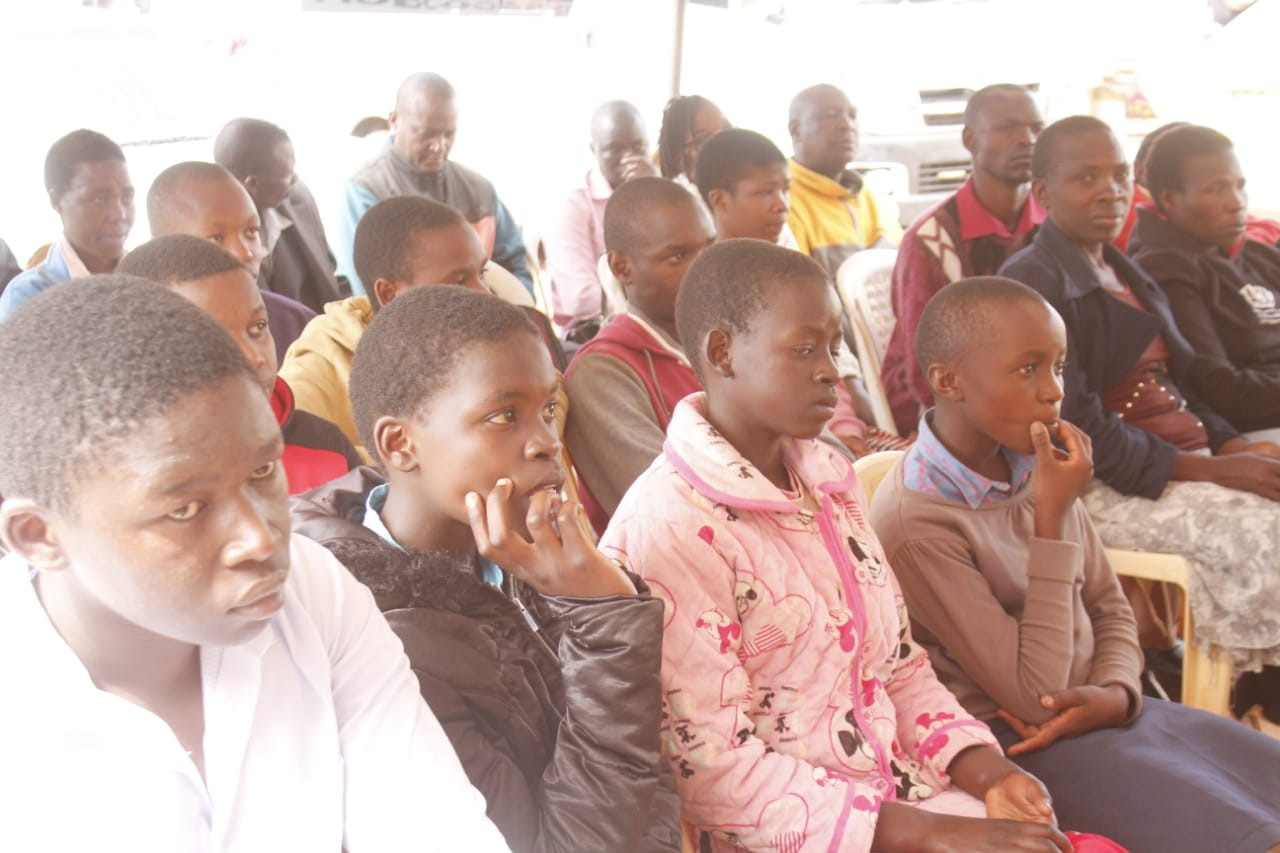 Some of the wings to fly beneficiaries from Three sub counties with their Parents and Guardian at Karoka branch Photo/Brighton Makori