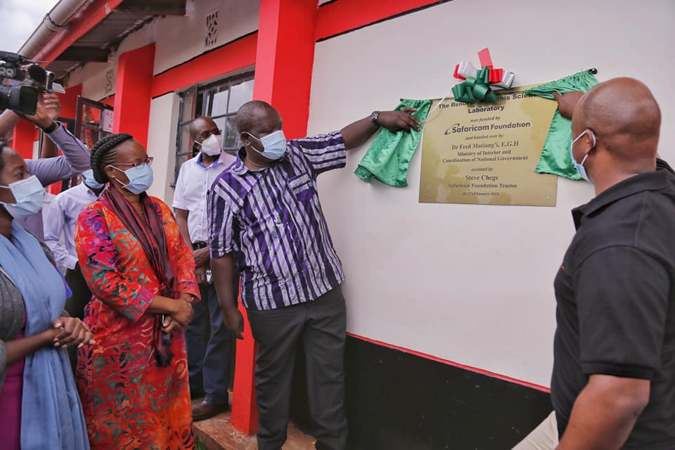 Interior CS Dr. Fred Matiang'i commissioning the newly built modern Science laboratory at Riokindo Girls on Friday Photo/Courtesy
