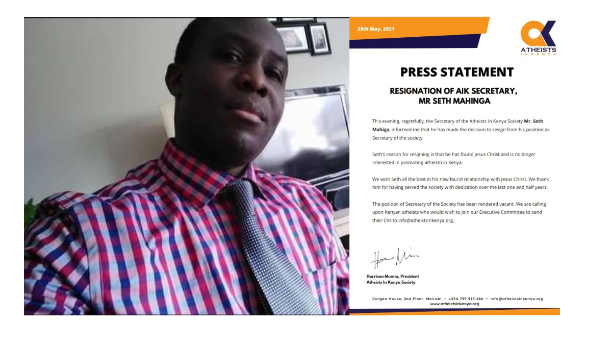 Press statement released to the media on 29th may, 2021 by the Atheist in Kenya Society