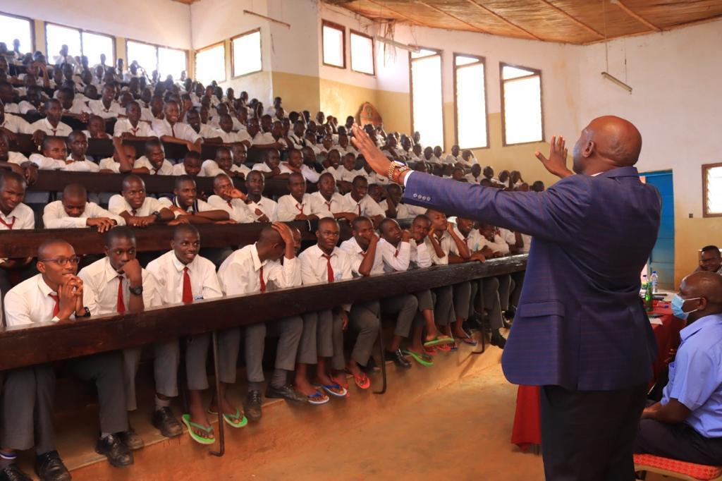 Dr. Walter Okibo speaking to Students at Cardinal Otunga Boys High School in January 2021. Photo/Rogers